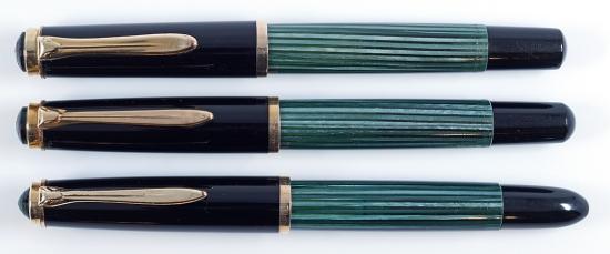 Pelikan 400, 400N, and 400NN in Green/Black striped
