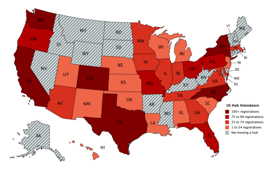 Map of the USA depicting 2019 Pelikan Hubs registrations