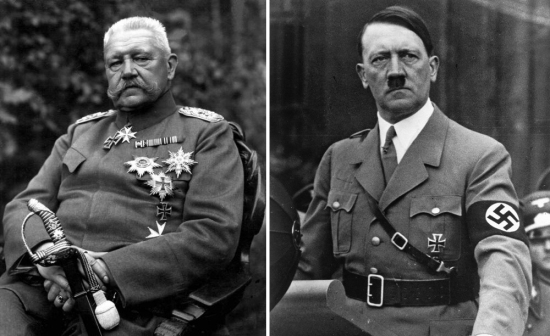 Paul von Hindenburg and Adolph Hitler