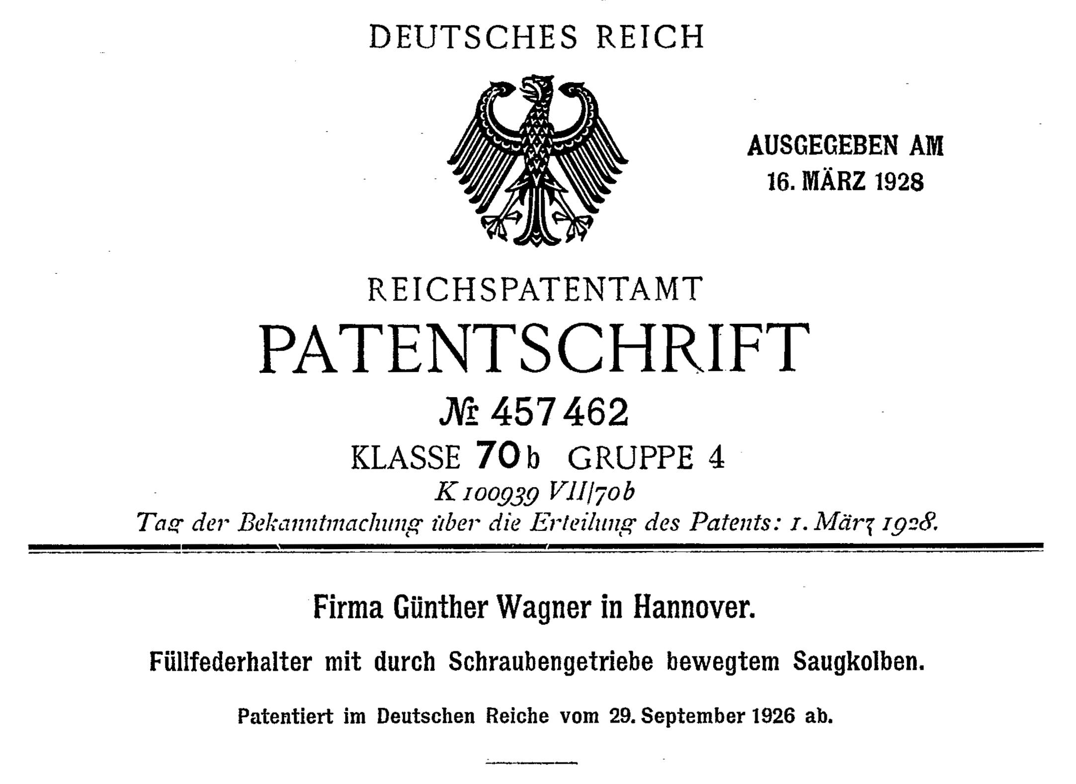 German patent DE457462