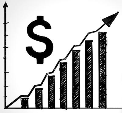 Graph with dollar symbol illustrating rising prices