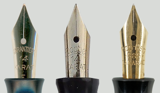 Günther Wagner's Rappen fountain pen nibs