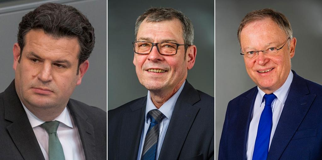 Hubertus Heil, Matthias Möhle, and Stephan Weil