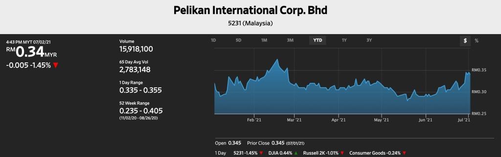 Pelikan International's stock performance