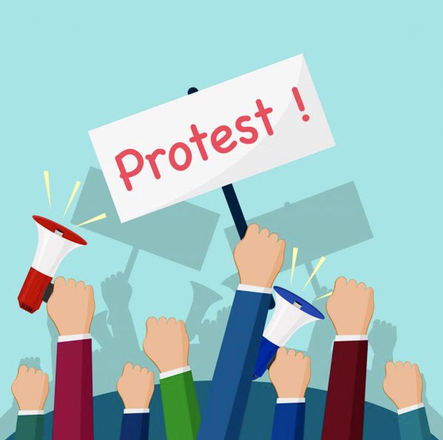 Protest cartoon stock image