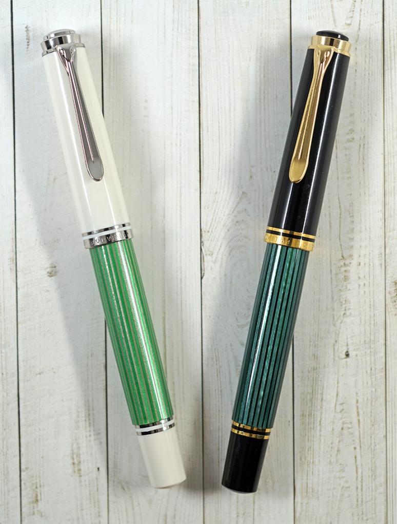 Pelikan M605 Green-White Fountain Pen and M600 Green-Black Fountain Pen
