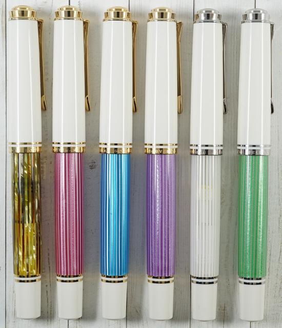 Pelikan M600 Tortoiseshell White, M600 Pink, M600 Turquoise-White, M600 Violet-White, M605 White-Transparent, and M605 Green-White